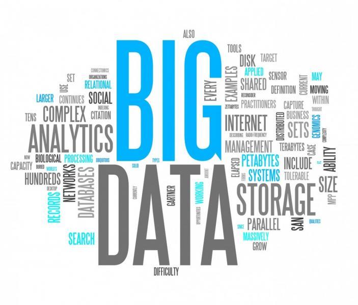 immagine con scritta Big Data e altre parole correlate